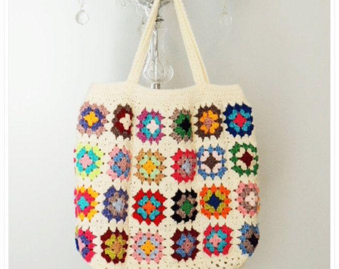 Crochet el bolso, bolso de Crochet playa, bolso Retro, abuela Plaza de la bolsa, estilo Boho, Crohcet bandolera, bolso de la verano, regalo para ella
