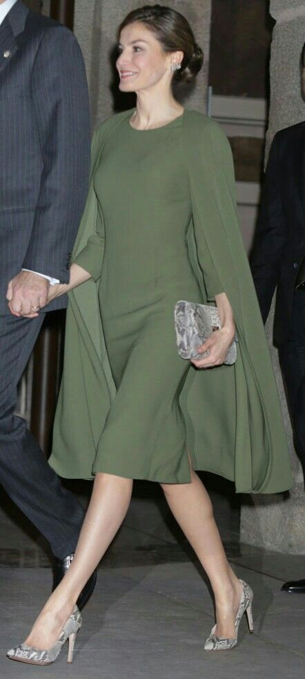 Queen Letizia - olive green cape-dress + snake print