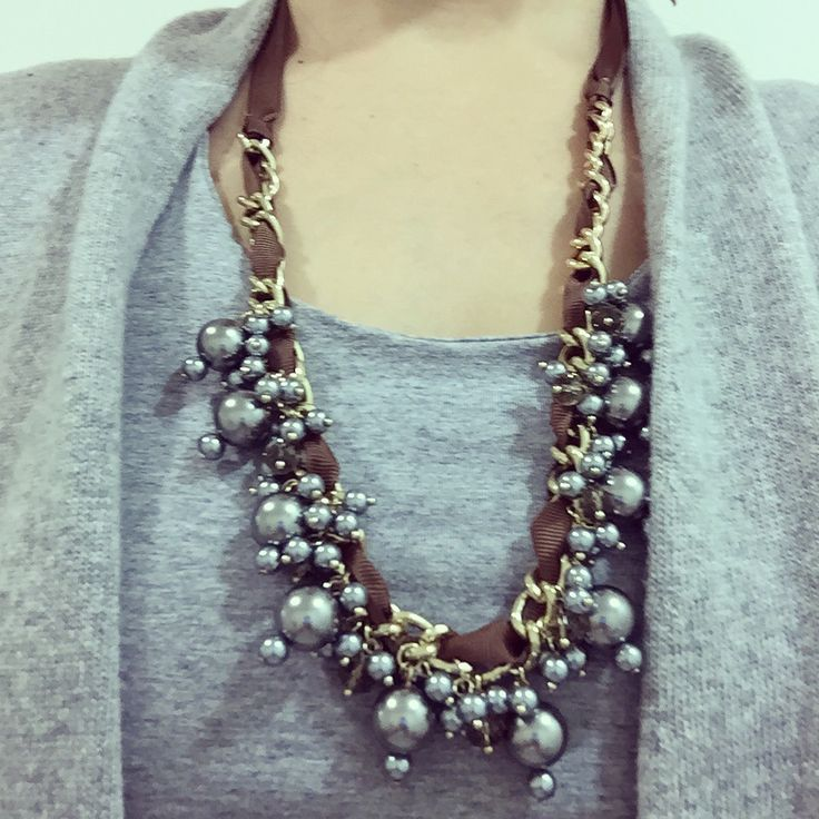 Grey on grey can be be so beautiful when paired with a chic long necklace. We are so excited we love wearing our #starletnecklace #bijouxplace #achievecelebrategive #womantowoman #mothersday