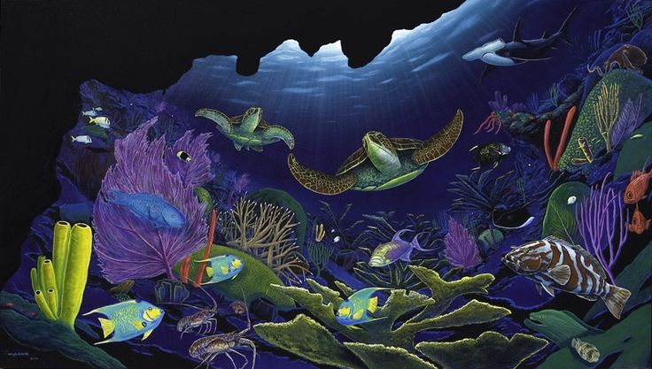 A Wyland painting of a Caribbean reef scene;