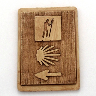 Emblematic symbol of The Way magnet. Handmade with reconstituted stone finish wood effect. Artcraft of The Way of St.James. Tax free $2.90