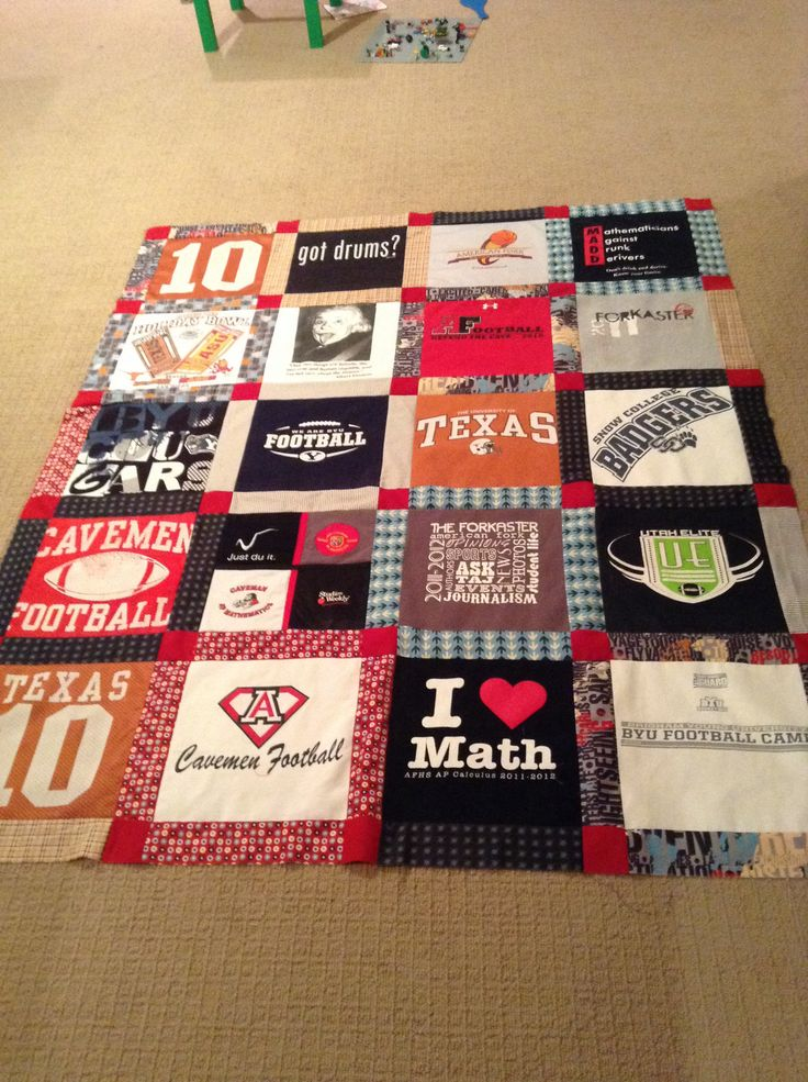 Ideas for high school graduation present, made from favorite t-shirts!