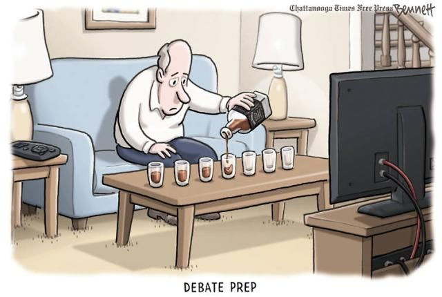 A political cartoon about preparing to watch the presidential debates.