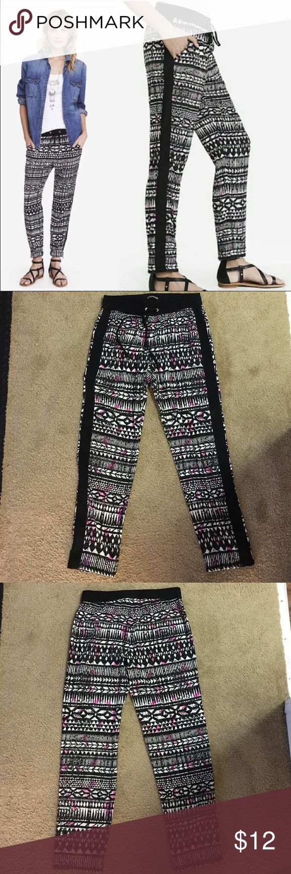 Express Women's Soft Pants, Drawstring Waist Express, women's casual soft pants, drawstring waist, 100% polyester, black/white/pink, size S, like new condition worn one time Express Pants Track Pants & Joggers