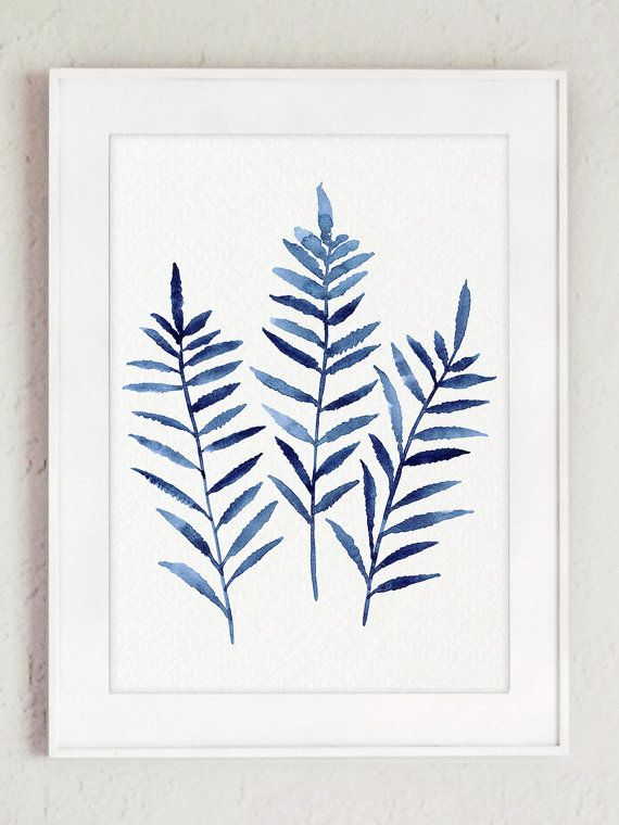 Blue Fern Illustration Watercolor Wall Decor, Kitchen Art Print Royal Blue Women Gift Idea, Ferns Set of 6 Paintings Botanical Floral Poster