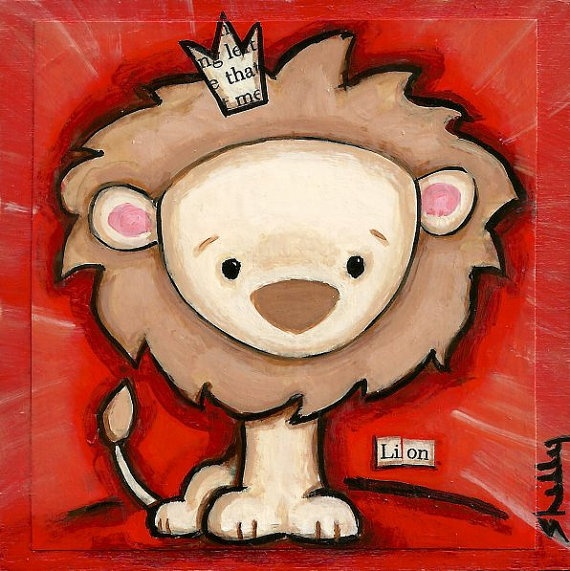 Original Art Baby Lion Painting Hand Painted by ShellyMundelArt, $35.00