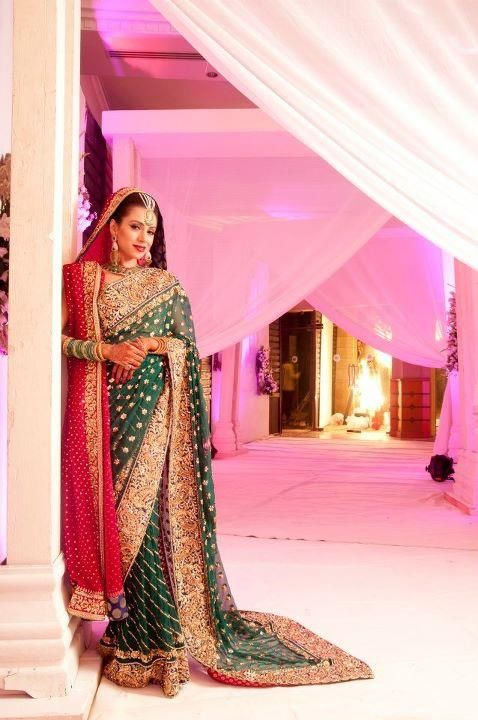 Green and red bridal sari