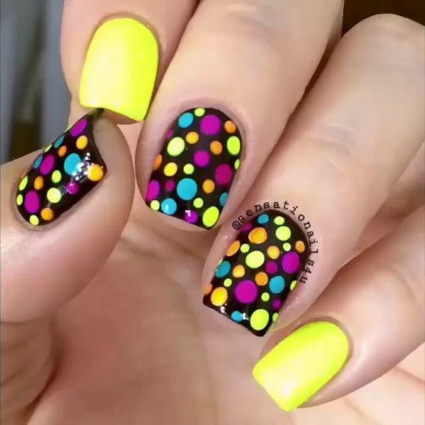 colorful dot nail - 30 Adorable Polka Dots Nail Designs