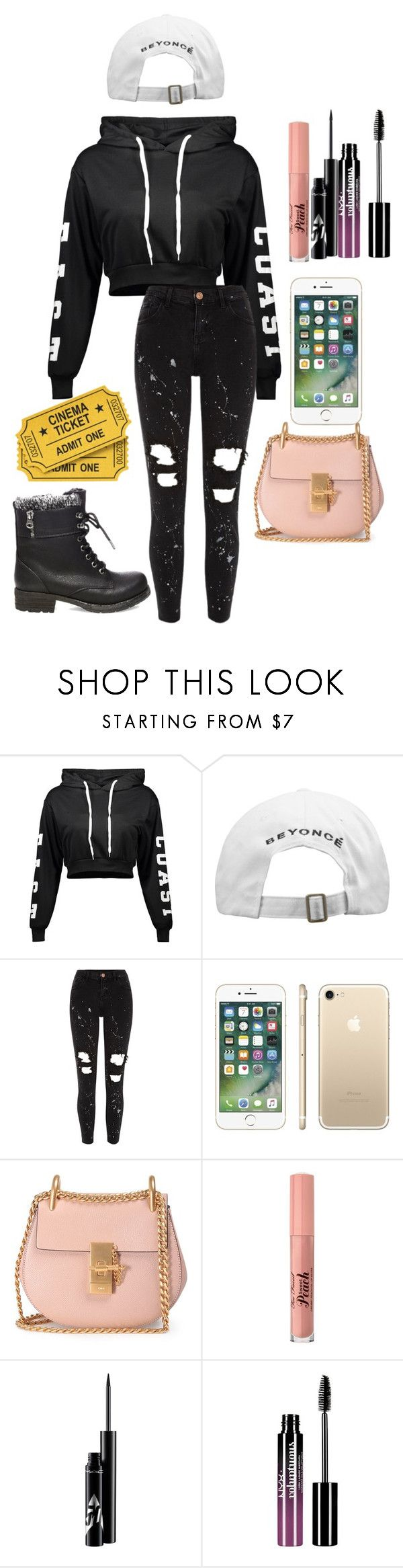 """Movie Theater"" by marythecheery ❤ liked on Polyvore featuring River Island, Chloé, Too Faced Cosmetics, Charlotte Russe and Steve Madden"