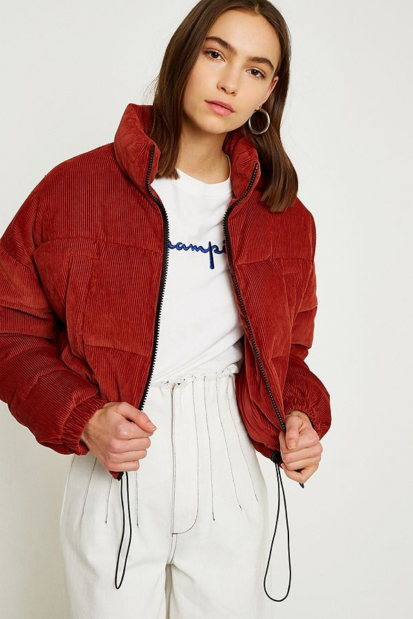 701bd8aa8 Slide View  2  UO Rust Corduroy Cropped Puffer Jacket