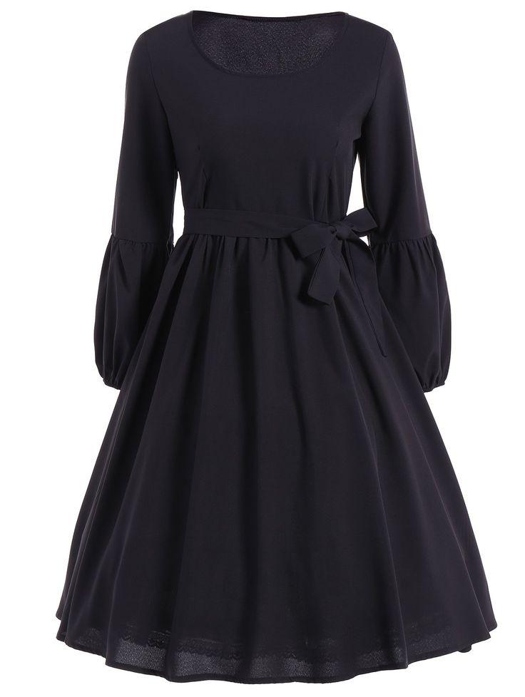 Belted Ruffled Puff Sleeve Vintage Dress in Black | Sammydress.com