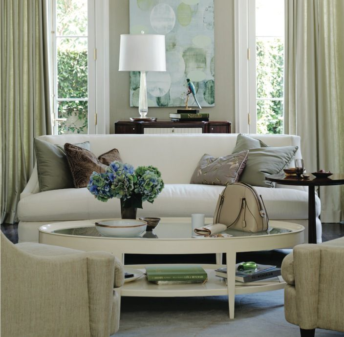Barbara Barry Realized By Henredon Living Room Featuring The Bowmont Sofa Cabochon Tail Table And Joan Arm Chair Showroom Details Interior