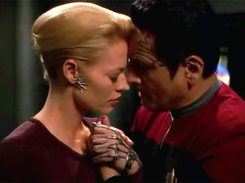 Seven of Nine and Chakotay now if only someone would edit this with kissing dax I'd be all good