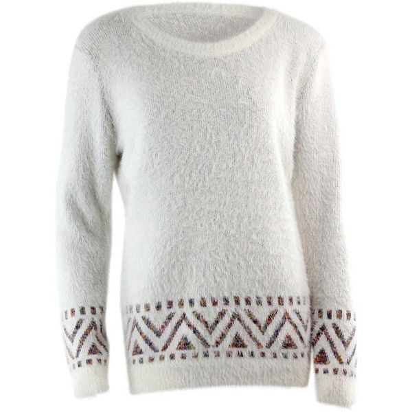 Ivory Shaggy Aztec Pullover Sweater featuring polyvore, women's fashion, clothing, tops, sweaters, ivory, aztec long sweater, tribal sweater, white pullover sweater, white top and ruffle sweater