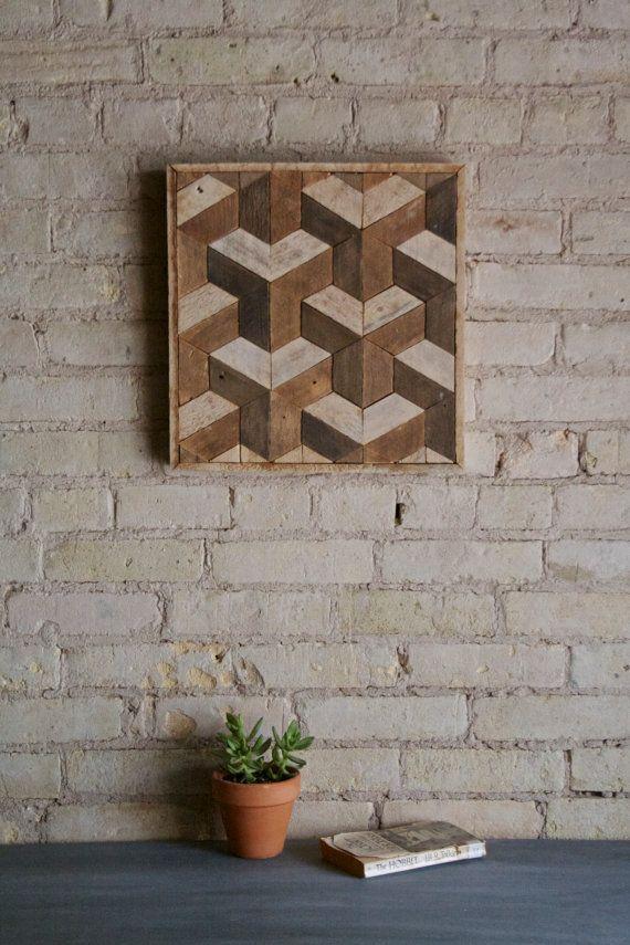 Recuperado arte de pared de madera decoración listón patrón