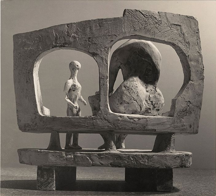 "Mother and Child against Open Wall ""Plaster Maquette for UNESCO Commission"" (1956) Henry Moore"