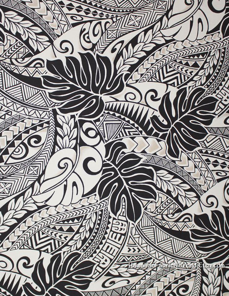 Tapa Hawaiian fabric: Polynesian tribal tattoo and tropical leaf. By HawaiianFabricNBYond.Etsy.com