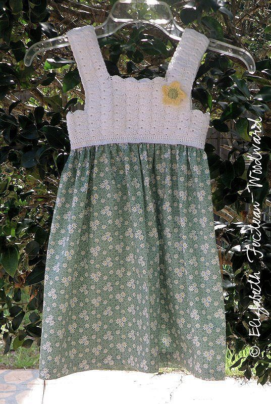 I had an idea to crochet a dress for my granddaughter.  I looked around the net and found some ideas for a crochet bodice with a gathered, attached fabric skirt.  But, I wanted to ma…