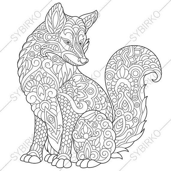 Fox Flowers Floral Pattern 2 Coloring Pages Animal Raskraski Risunki Mandala