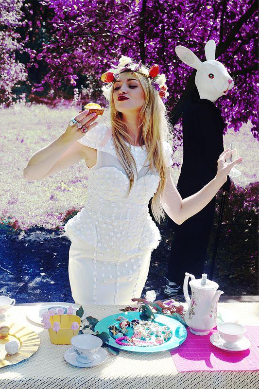 "Basia Kurdej - Szatan for MissSpark. Session ""Alice in Wonderland"". Fashion/Styling: Agnieszka Iskierka. Amazing white studded dress available for order: info@missspark.com"