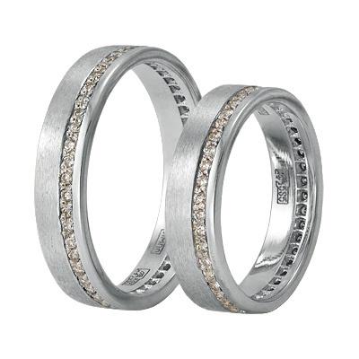 Обручальные кольца матовые из белого золота с бриллиантами, артикул К0151010109 - купить по лучшей цене, описание, характеристики, фотографии