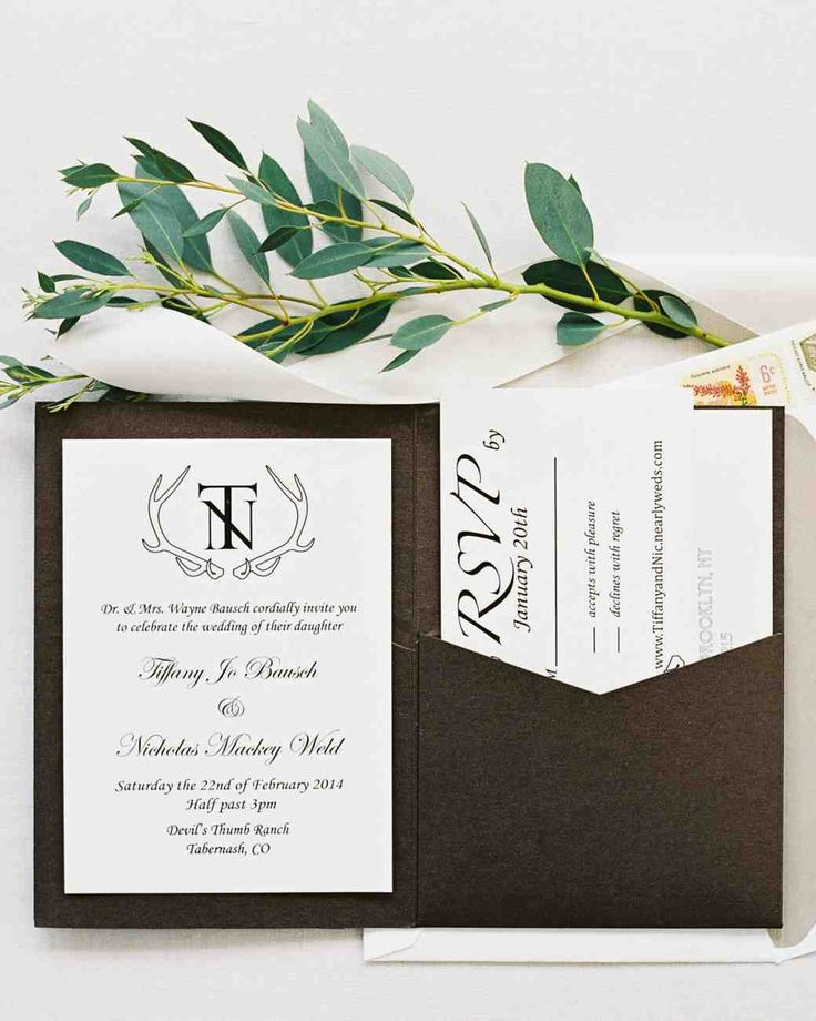 11 Unexpected Winter Wedding Invitations   Martha Stewart Weddings - Tiffany designed the black-and-white stationery suite for her February wedding in Colorado's Rocky Mountains complete with a custom crest with antlers.