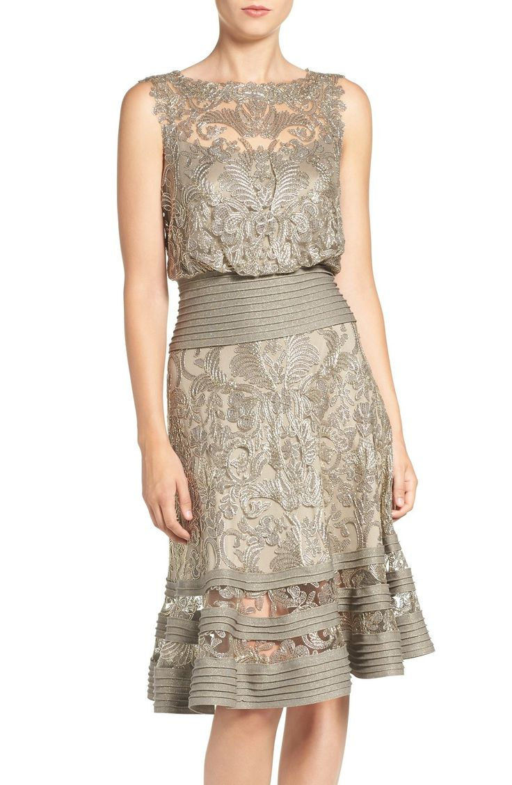 Tadashi Shoji Mixed Media Blouson Dress available at #Nordstrom