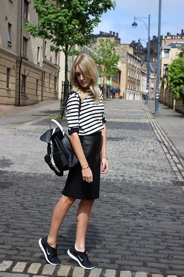 Reiss Leather Skirt, Nike Free Run 5.0+, Grafea Monochrome Leather Backpack