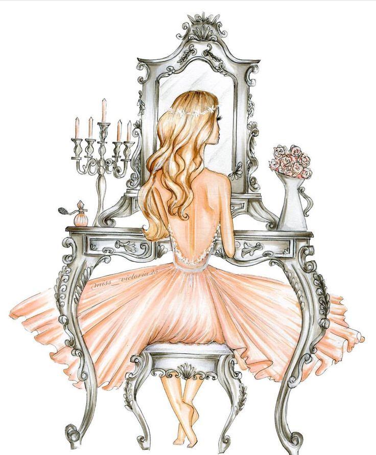 Mirándose al espejo.