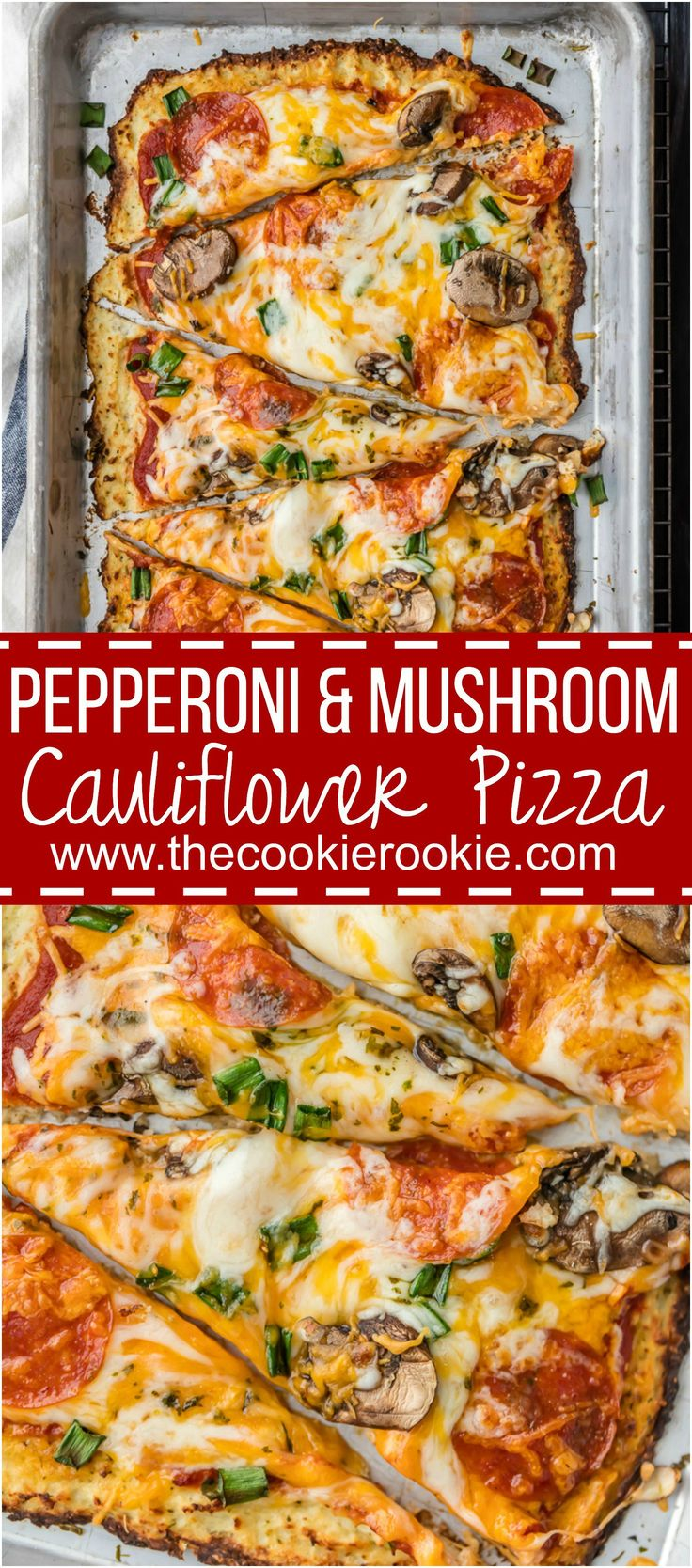 Pepperoni and Mushroom Cauliflower Pizza is LOW CARB and delicious! EASY and healthy recipe still full of flavor! We love cauliflower pizza crust!