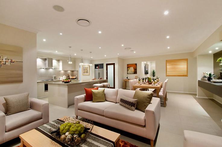 Fresh open plan living area in the Santorini design by McDonald Jones Homes