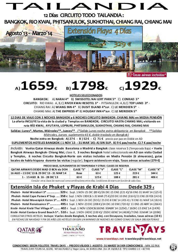 Tailandia: Circuito Todo Tailandia + Ext. a Phuket o Krabi  Ago13 a Mar´14 Desde 1659 € Tasas incl. - http://zocotours.com/tailandia-circuito-todo-tailandia-ext-a-phuket-o-krabi-ago13-a-mar%c2%b414-desde-1659-e-tasas-incl/