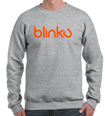 Sudadera para hombre : Color sport grey, diseño Blinku 4 serigrafiado en tinta color orange