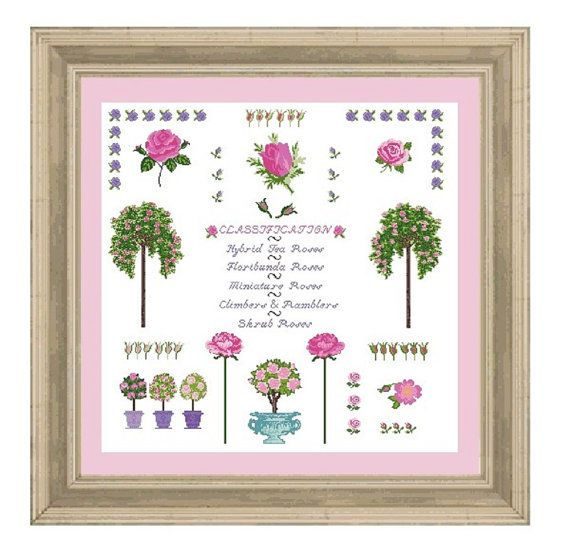 ROSE SAMPLER  pink  cross stitch pattern wall by anetteeriksson, $9.95