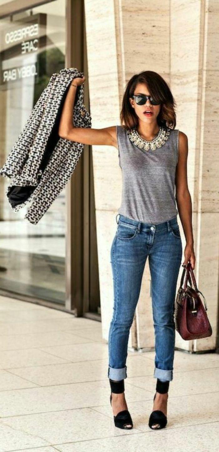 Idee pour s habiller classe veste a la mode jean et top