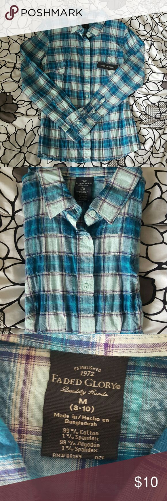 Blue Flannel Shirt Blue lightweight flannel is perfect for warmer days ahead! The shirt has never been worn and still has the tags attached. Tag says size medium (8-10). Faded Glory Tops Button Down Shirts