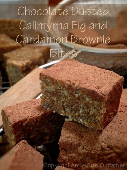Chocolate-Dusted-Calimyrna-Fig-and-Cardamon-Brownie-Bites~ mmmm sounds like a nice change of pace!