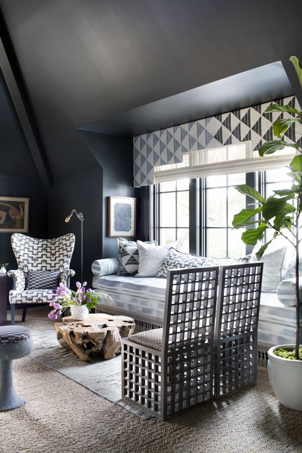 layered patterns in a new traditional living room setting by cloth & kind | via coco+kelley