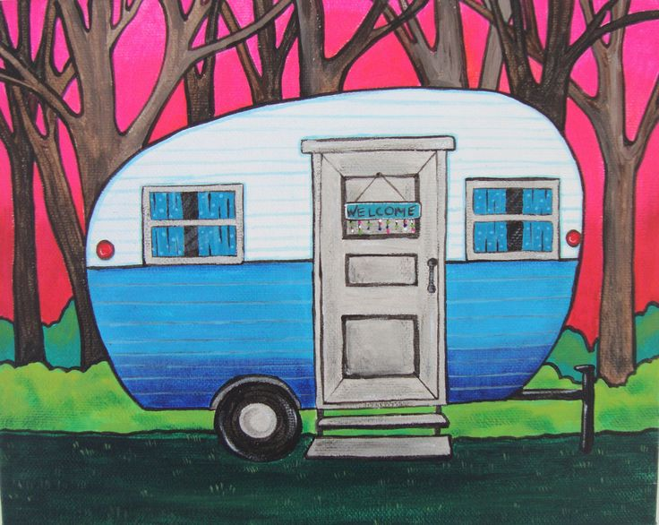 Blue Camper Painting Canvas Camper Art Nature Lover Gift Cabin Decor Colorful Camping Decor