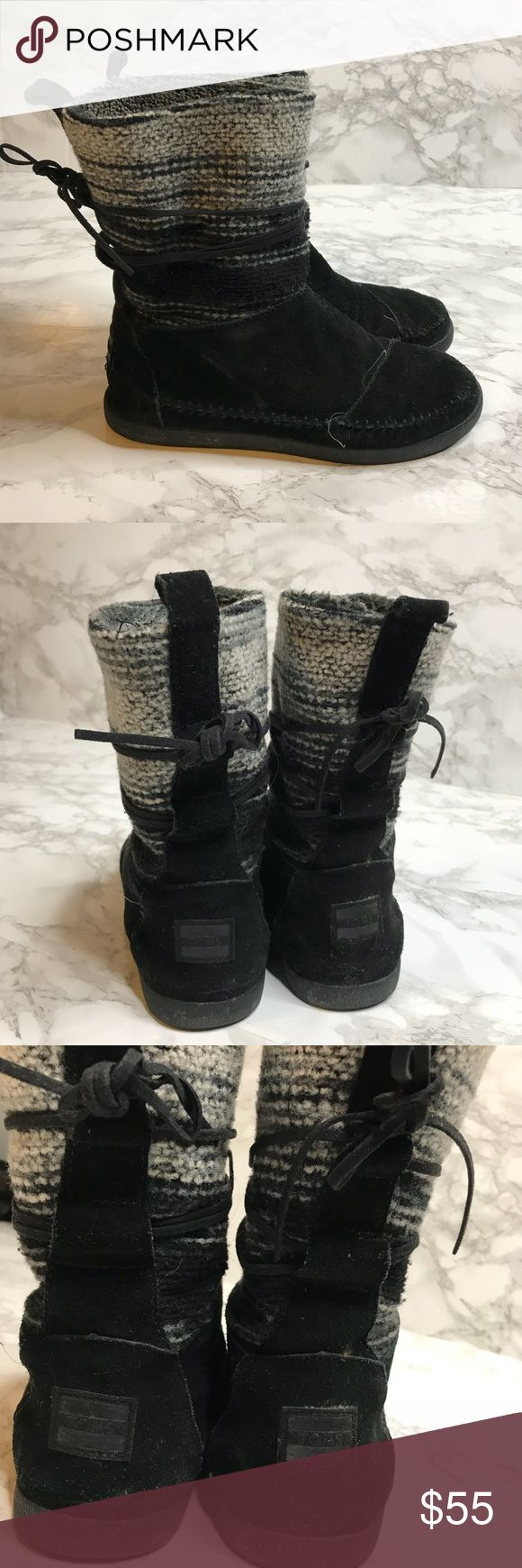 Toms Nepal Black Wool Stripe Womens Boots Leather Winter boots with faux fur lining! Adorable boots in excellent used condition! One for one. Size 7 Toms Shoes Winter & Rain Boots