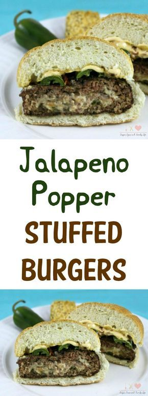 Jalapeno Popper Stuffed Burgers will be loved by anyone who likes spicy food or jalapeno poppers. These grilled burgers are stuffed with jalapeno peppers, cheese and bacon. - Jalapeno Popper Stuffed Burger Recipe on Sugar, Spice and Family Life #stuffedburger #burger #jalapenopopper #jalapenos #grilling #sandwich #recipe