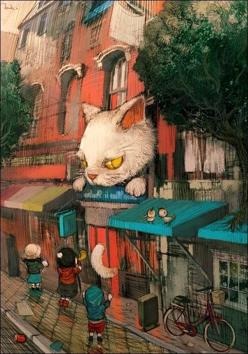来自韩国插画师Kyoung Hwan Kim(金庚焕)的一组童话般的插画作品。Kyoung Hwan Kim,现居首尔,善于用粗犷的笔触表达细腻的情感,同时也是一个吉他爱好者,更喜欢不同风格的电影。主页: