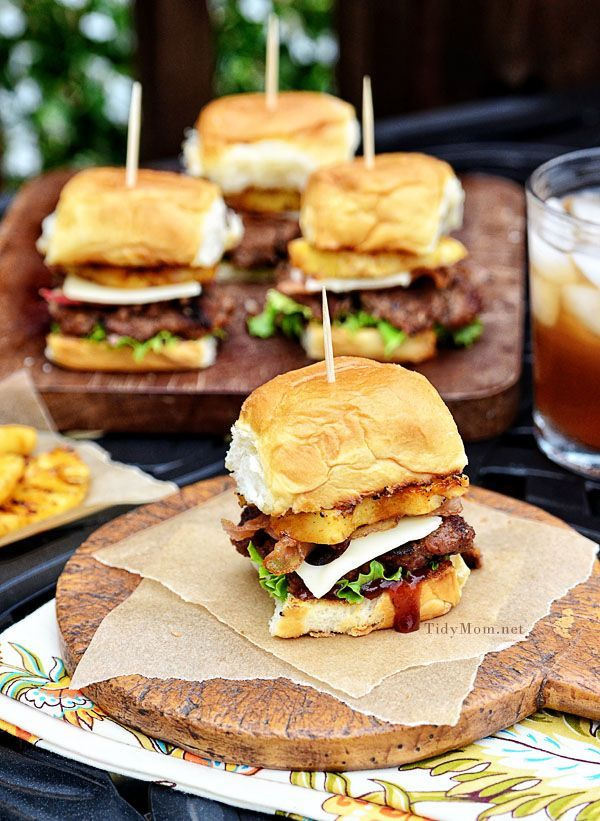 Aloha Burgers - Burger, Brown Sugar BBQ sauce, Hawaiian rolls, Pineapple, Swiss, Bacon, Lettuce