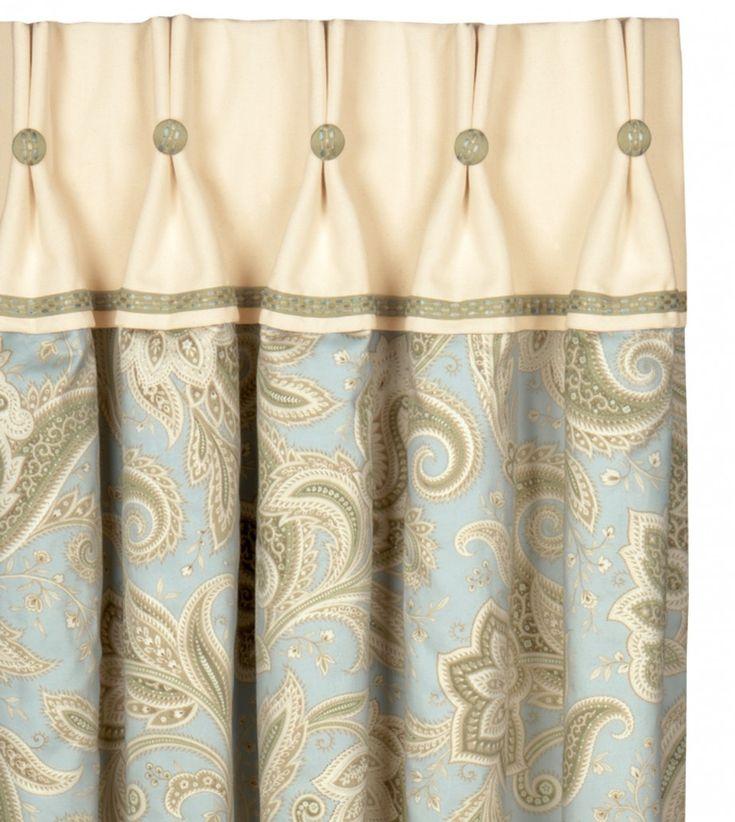 Modern Valances | Medium | Entrancing Exclusive Designer Shower Curtains  With Cream .