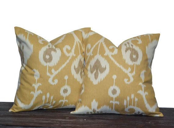 """18"""" Yellow Ikat Pillow Set - Set of 18 x 18 Inch Neutral Pillow Covers - Yellow, Cream and Light Brown - TWO PILLOW COVERS"""
