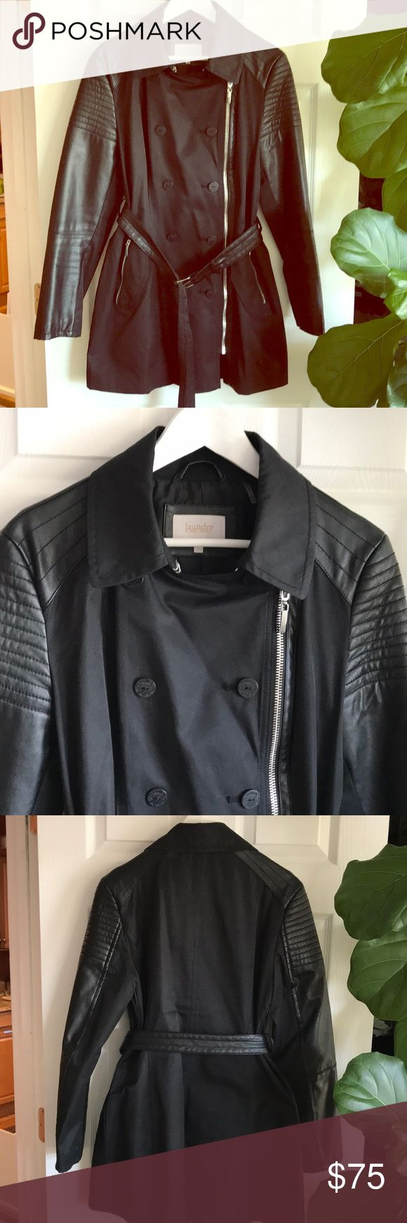 Half leather Rain coat laundry Half leather Rain coat - laundry . Laundry Jackets & Coats Trench Coats