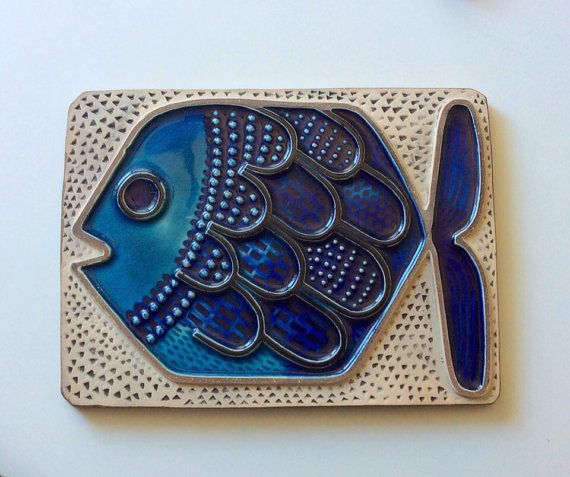 60s Swedish Upsala Ekeby vintage wallhanging plaque collectible fish Mari Simmulson