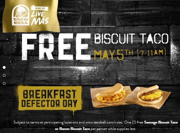 Pinned May 4th: Free biscuit taco #Tuesday morning at Taco Bell #coupon via The #Coupons App