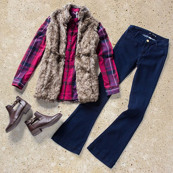 Seventies style denim is back in a major way! Are you feeling the flare trend as much as we are?  Work this folk-inspired look with a check shirt, fluffy gilet and a pair of flares, available in-store and online now at MRP.com!  Gilet R299.99 Shirt R139.99 Flare denim R139.99 Boots R189.99