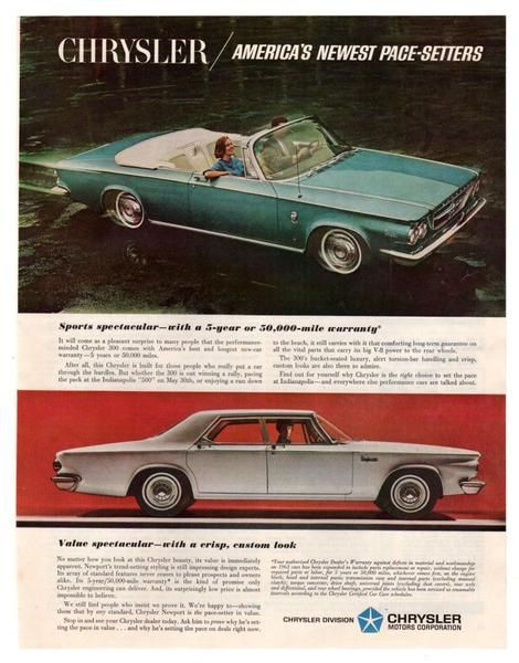 """Vintage and original Chrysler 300 and Chrysler Newport convertible car paper print ad from 1963 magazine. This ad shows a Blue Chrysler 300 and a White Chrysler Newport. Reads, """"Chrysler / America's N"""